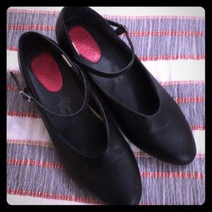 Genuine leather, black stage shoes